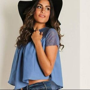 Tops - Lace Combo Blouse Size L
